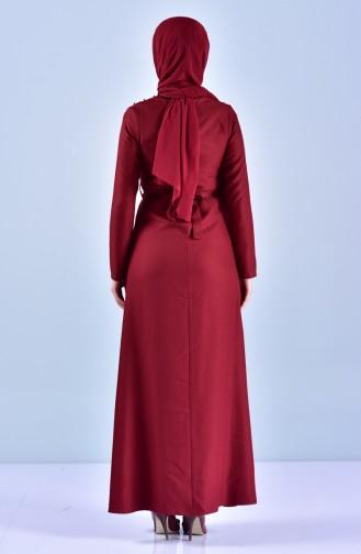 Robe Perlées a Ceinture 5513-05 Bordeaux 5513-05