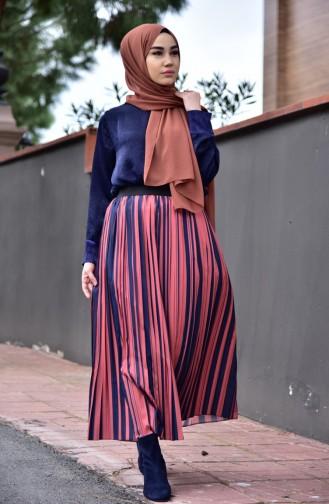Large Size Patterned Skirt 4902-01 Tile İndigo 4902-01