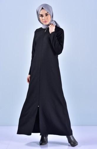 Abaya a Fermeture 3040-01 Noir 3040-01