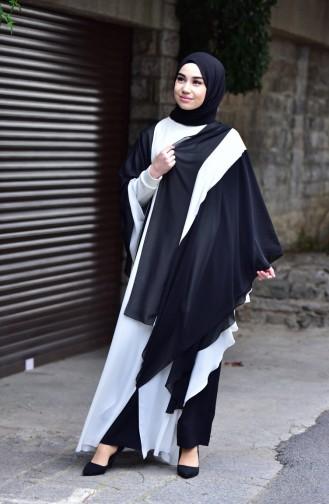 Shoulder Shawl Chiffon Abaya 4915-01 Black White 4915-01