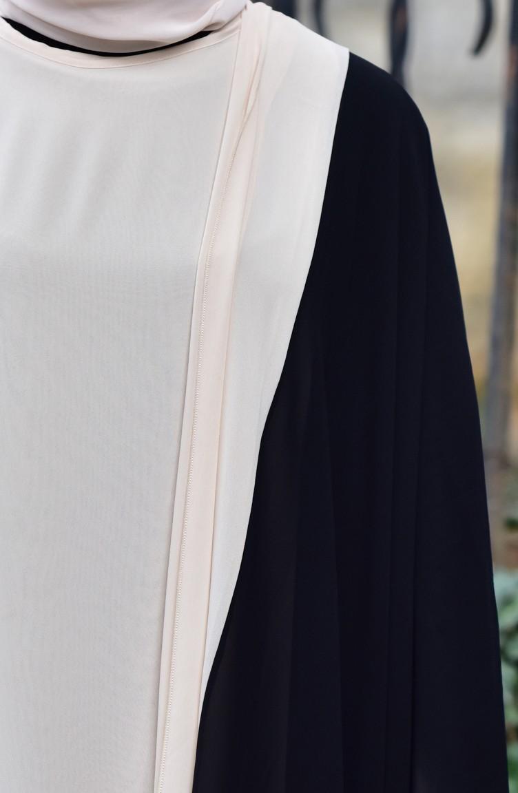 a17cf311d351 Shoulder Shawl Chiffon Abaya 4915-02 Black Beige 4915-02