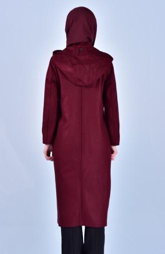 معطف طويل أحمر كلاريت 2036-02
