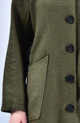 Fleece Mantel mit Kapuze 2036-05 Khaki 2036-05