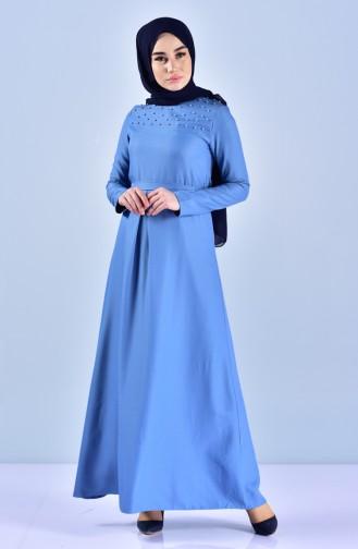 Robe Perlées a Ceinture 5513-04 Bleu 5513-04