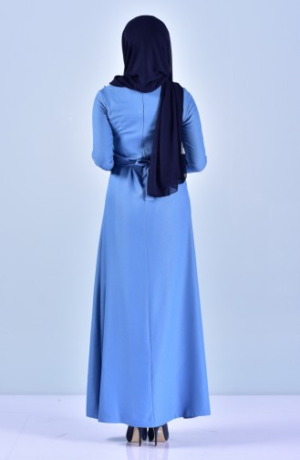 فستان بحزام خصر وتفاصيل من اللؤلؤ5513-04 لون أزرق 5513-04
