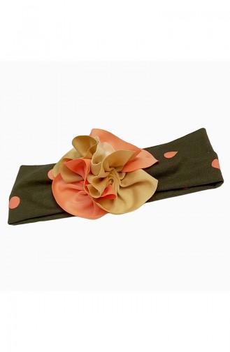 Kinder Bandana mit Blumen BB016 Khaki-Lachs 016