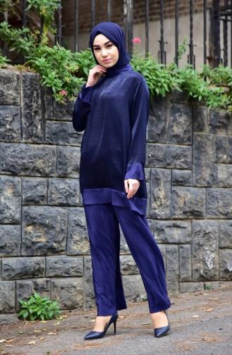 Jacquard Tunic Pants Double Suit 4910-02 Navy Blue 4910-02