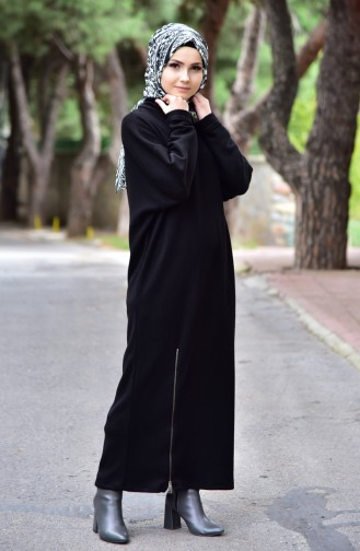 Tricot Zipper Detail Dress 4921-01 Black 4921-01
