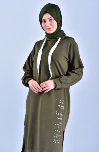 تونيك طويل بتصميم موصول بقبعة 1303-08 لون أخضر كاكي 1303-08