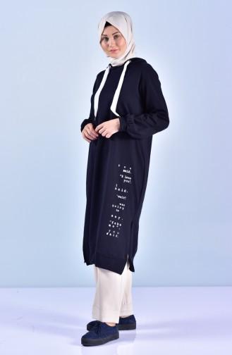 تونيك طويل بتصميم موصول بقبعة 1303-09 لون كحلي داكن 1303-09