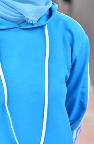 بدلة رياضية موصولة بقبعة 18061-03 لون تركواز 18061-03