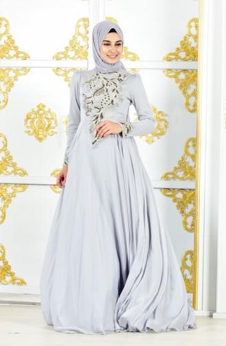 Grau Hijab-Abendkleider 11187-01