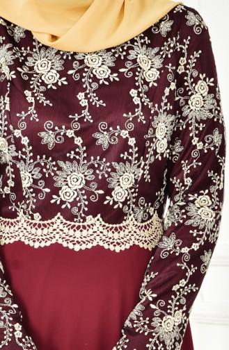 Dantelli Abiye Elbise 52488-16 Koyu Bordo 52488-16