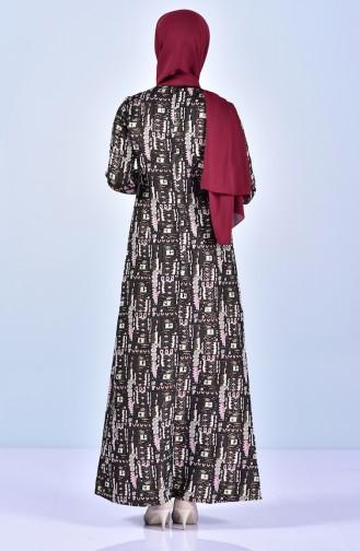 Desenli Elbise 7216-04 Bordo