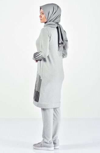 Striped Tracksuit Suit 0395-05 Gray 0395-05