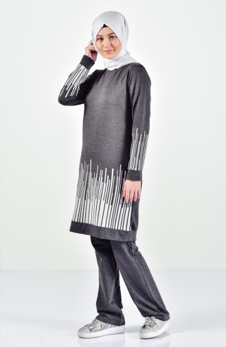 Striped Tracksuit Suit 0395-07 Anthracite 0395-07