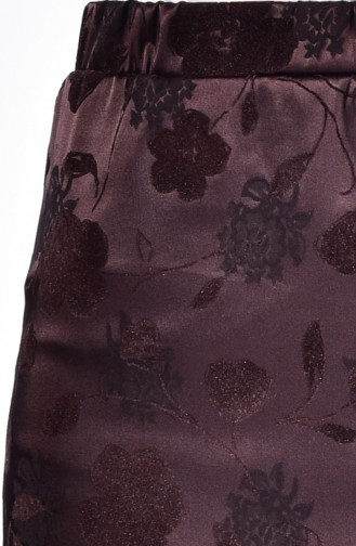 Flock Printed Pencil Skirt 1037-01 Brown 1037-01