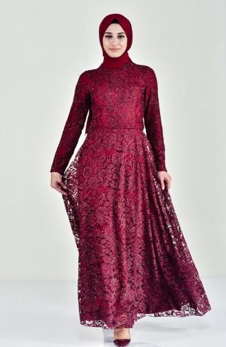 Lace V-neck Evening Dress 0169-01 Bordeaux 0169-01
