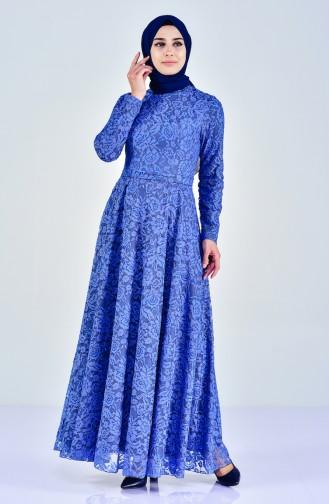 Dantel Kaplama Abiye Elbise 0169-02 Mavi