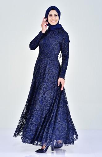 Lace V-neck Evening Dress 0169-03 Navy 0169-03