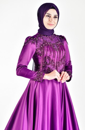 Purple Islamic Clothing Evening Dress 6145-01