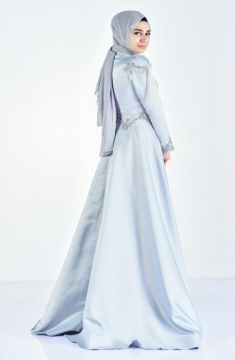 Blue Islamic Clothing Evening Dress 6145-02