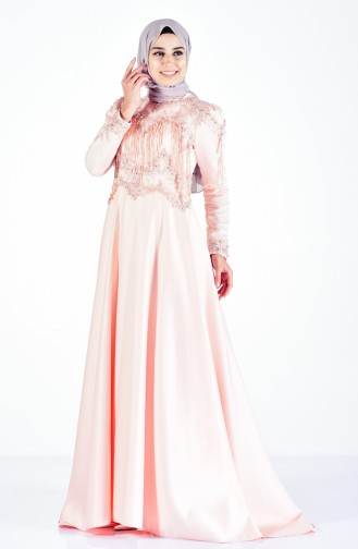 Laced Evening Dress 6145-03 Salmon 6145-03