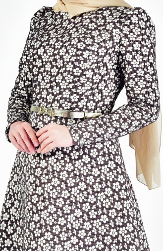 Belt Flower Patterned Dress 7211-03 Light Coffee 7211-03