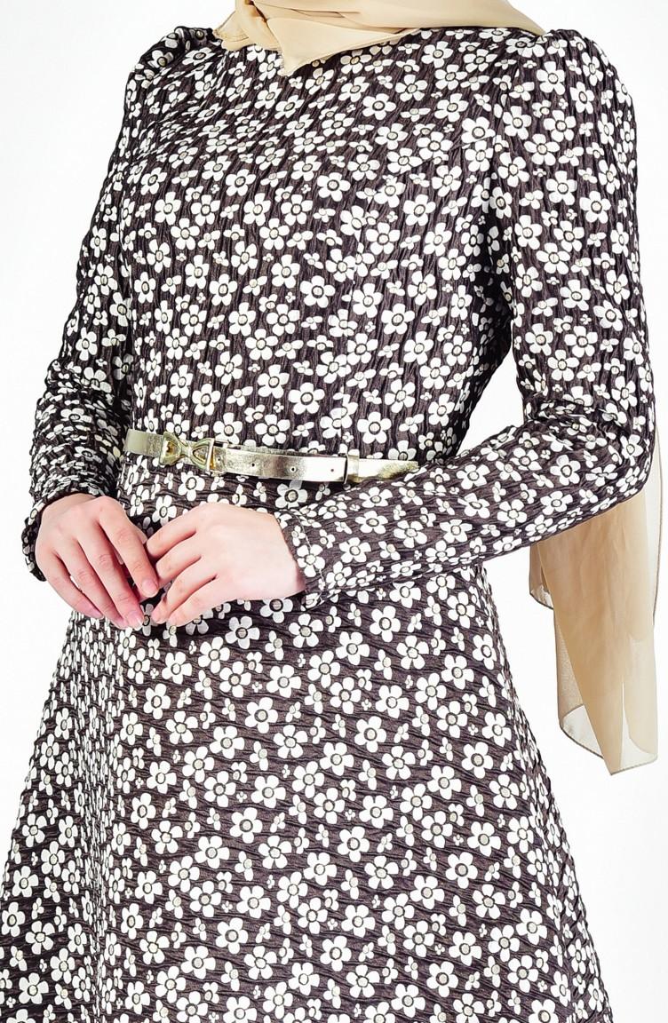 cb22d0c6a58e8 Belt Flower Patterned Dress 7211-03 Light Coffee 7211-03