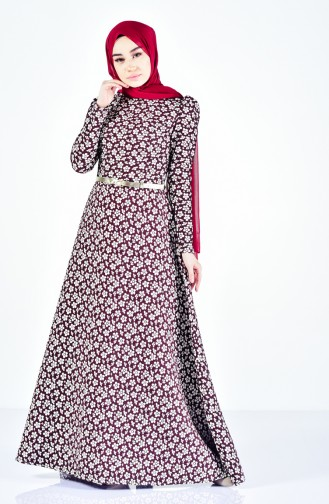 فستان بتصميم مورّد وحزام للخصر 7211-04 لون خمري 7211-04
