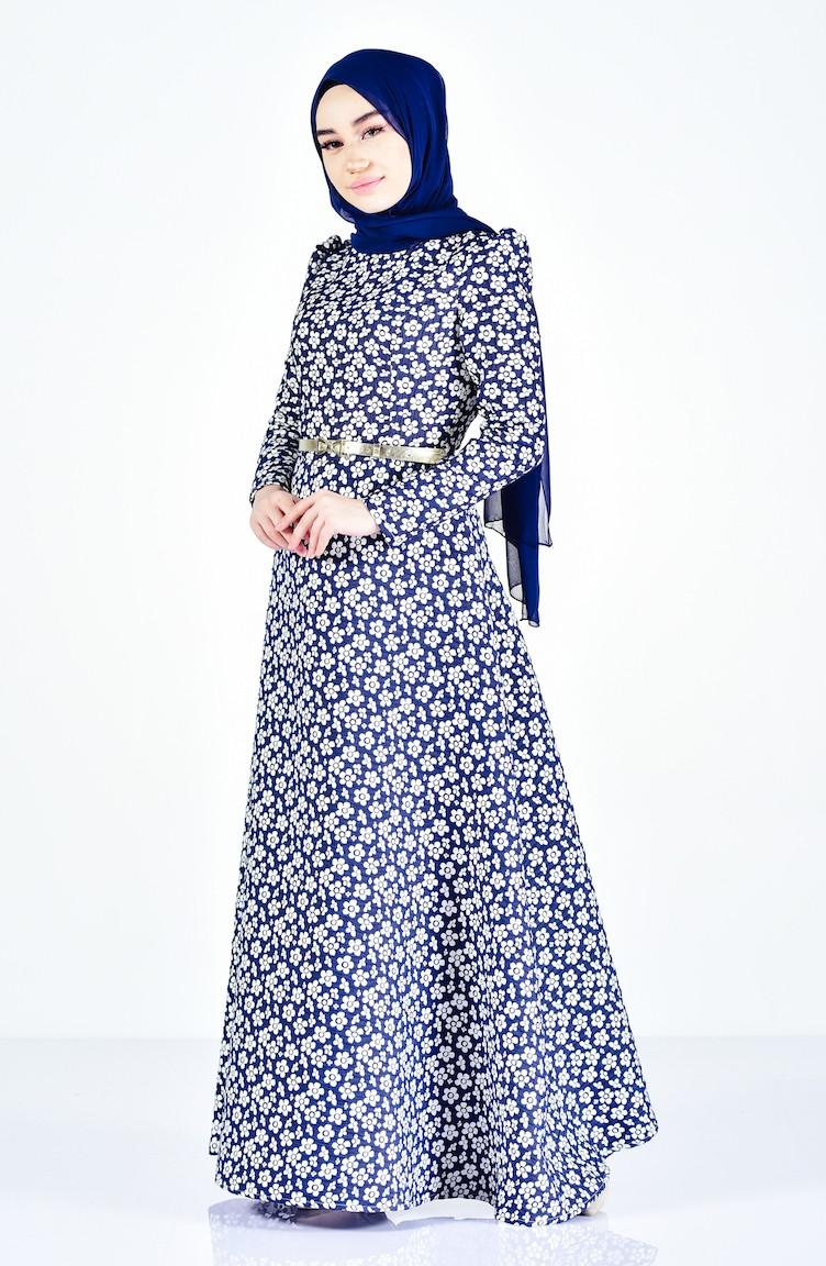 Belt Flower Patterned Dress 7211-06 Navy 7211-06