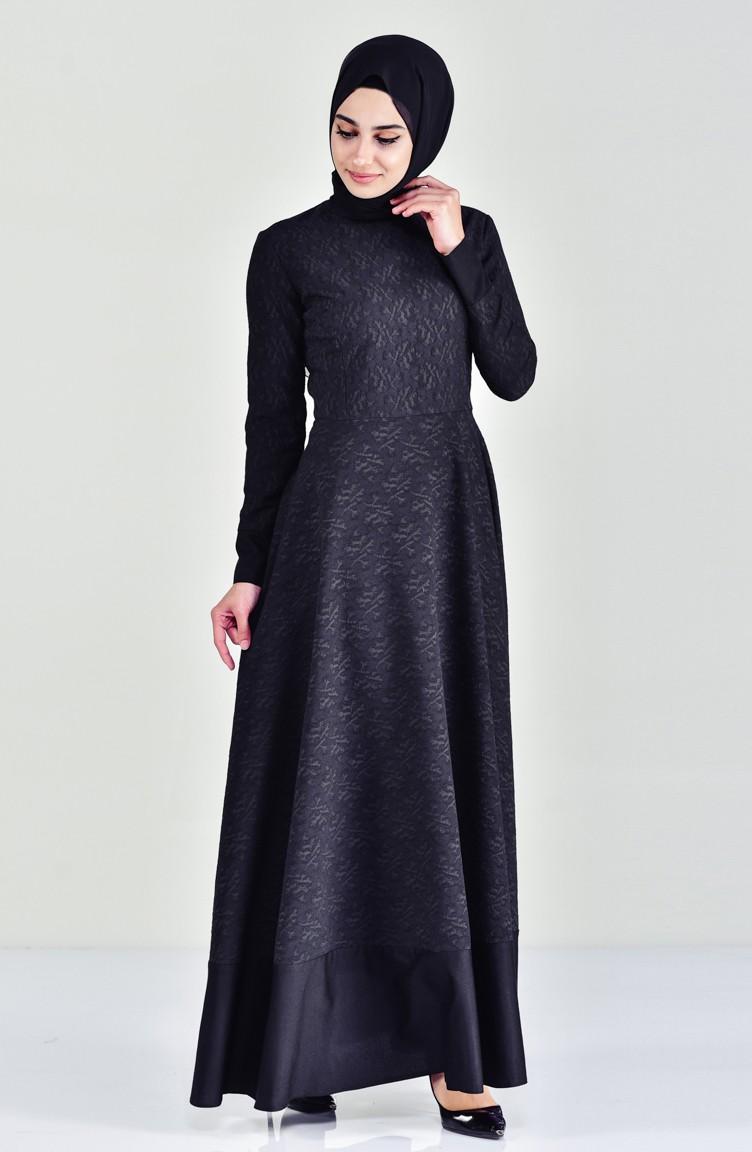 7219 Schwarz Kleid 03 Patchwork Blumenmuster Mit wk8n0OPX