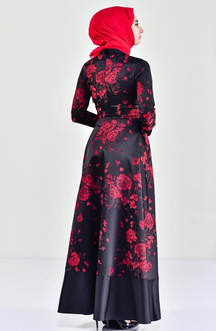1b7a6d1f69eaa Çiçek Desenli Garnili Elbise 7220-02 Bordo