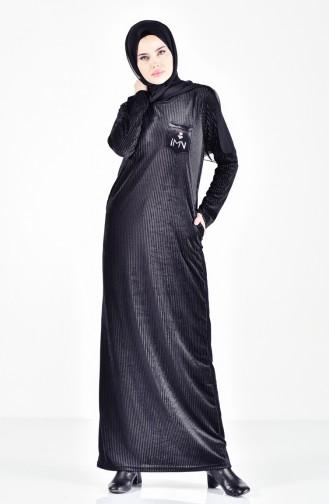 فستان بتفاصيل مطرزة وجيوب 99167-01 لون اسود 99167-01