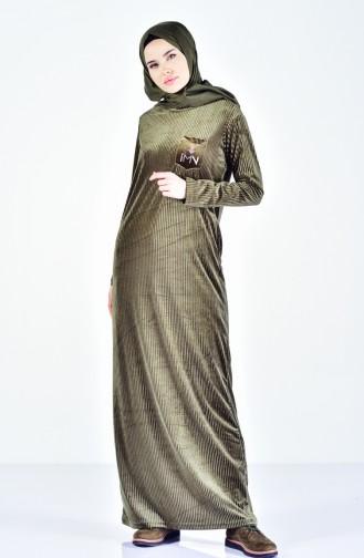 Cepli Nakışlı Elbise 99167-02 Haki