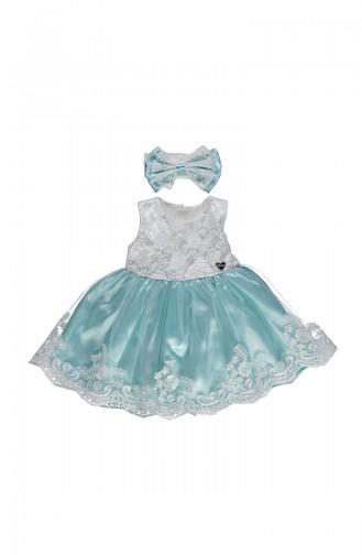 ببيتو فستان اطفال ستان بتفاصيل من الدانتيل K1900-MNT-01 لون اخضر فاتح 1900-MNT-01