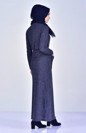 فستان تريكو بتصميم ياقة بولو 1702-02 لون كحلي 1702-02