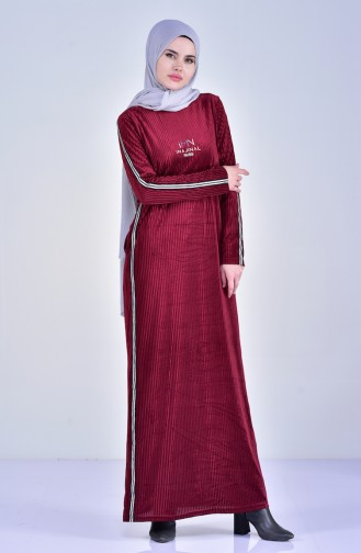 فستان بتصميم مُخطط 99170-02 لون خمري 99170-02
