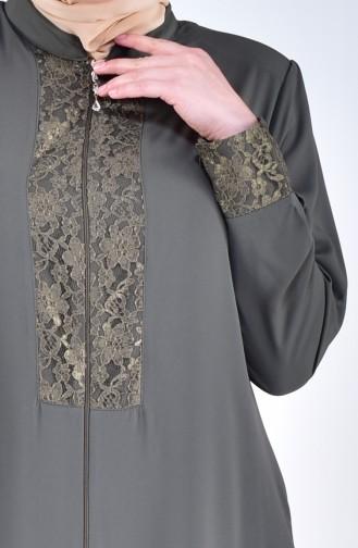 Abaya a Dentelle Grande Taille 2518-01 Khaki 2518-01