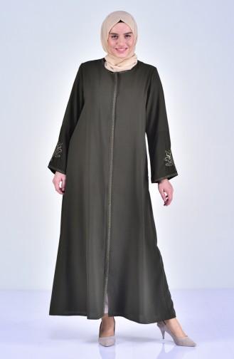 Übergröße Abaya mit Stickerei 2521-01 Khaki 2521-01