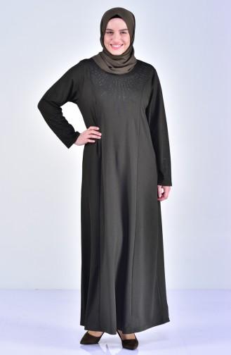 فستان مُطبع بأحجار لامعة بمقاسات كبيرة 4823-03 لون أخضر كاكي 4823-03