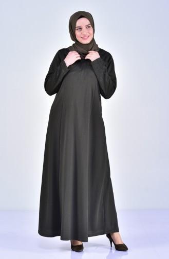 Büyük Beden Taş Baskılı Elbise 4823-03 Haki 4823-03