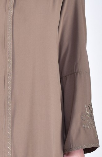Large Size Embroidered Abaya 2521-06 Cream 2521-06