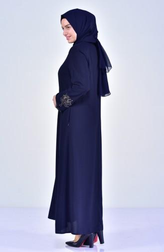 Abaya Bordée Grande Taille 2521-04 Bleu Marine 2521-04