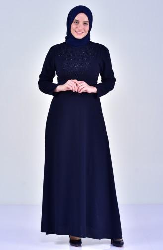 فستان بحزام خصر و تفاصيل من اللؤلؤ بمقاسات كبيرة 6150-03 لون كحلي 6150-03
