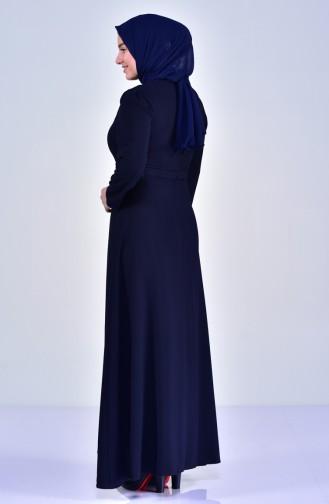 Übergröße Perlen Kleid mit Gürtel 6150-03 Dunkelblau 6150-03