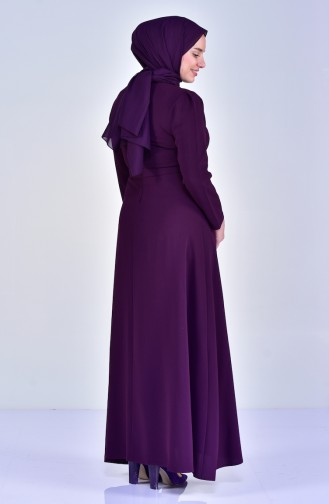 Robe a Ceinture et Perles Grande Taille 6150-02 Pourpre 6150-02