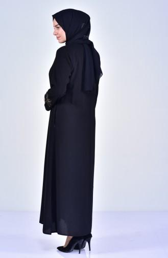 Abaya Bordée Grande Taille 2521-03 Noir 2521-03