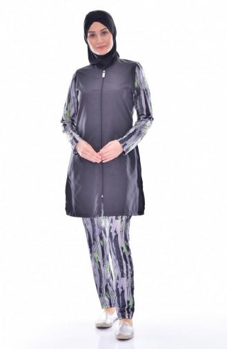 Zippered Swimwear 1878-01 Black Gray 1878-01