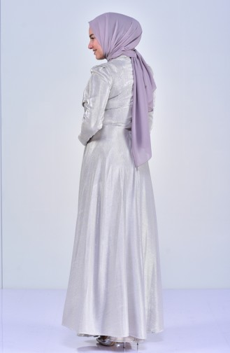 Big size Stone Evening Dress 8020-03 Beige 8020-03